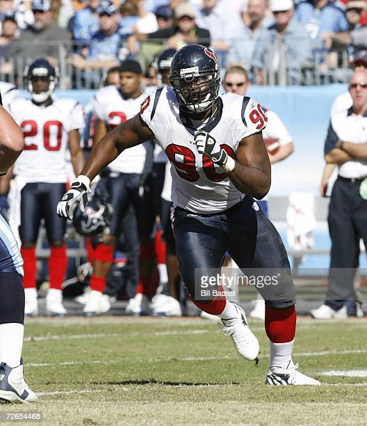 Defensive end Mario Williams of the Houston Texans pursues during a game against the Tennessee Titans at LP Field on October 29, 2006 in Nashville,...