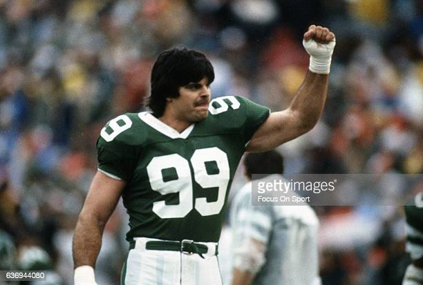 Defensive end Mark Gastineau celebrates during an NFL football game circa 1986 Gastineau played for the Jets from 197988