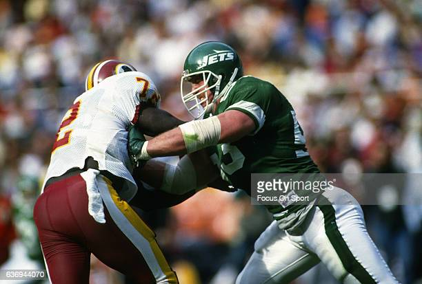 Defensive end Mark Gastineau in action against the Washington Redskins during an NFL football game October 25 1987 at RFK Stadium in Landover...
