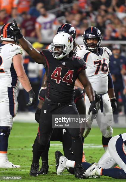 Defensive end Markus Golden of the Arizona Cardinals reacts after a defensive stop during the second quarter against the Denver Broncos at State Farm...