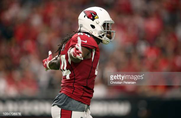 Defensive end Markus Golden of the Arizona Cardinals reacts after a defensive stop during the first quarter against the San Francisco 49ers at State...