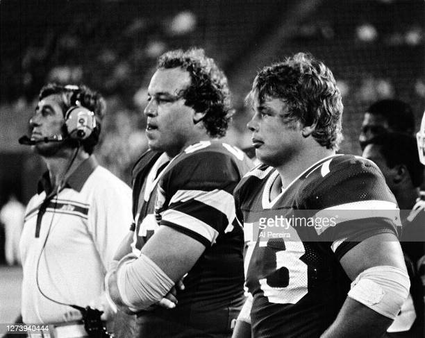 Defensive End Marty Lyons and Defensive Tackle Joe Klecko of the New York Jets follows the action in the Miami Dolphins vs New York Jets game at The...