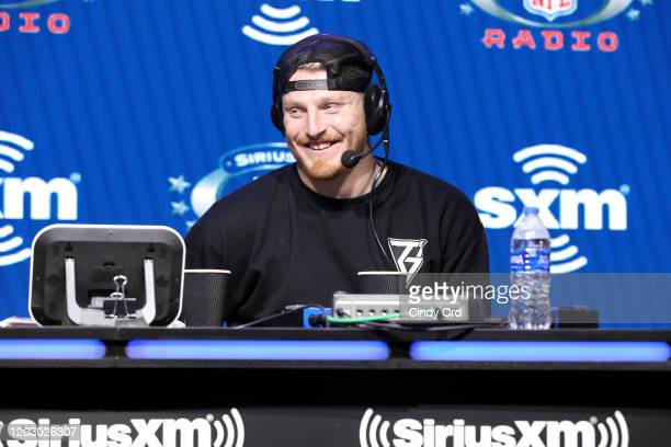 Defensive end Maxx Crosby of the Las Vegas Raiders speaks onstage during day 2 of SiriusXM at Super Bowl LIV on January 30, 2020 in Miami, Florida.