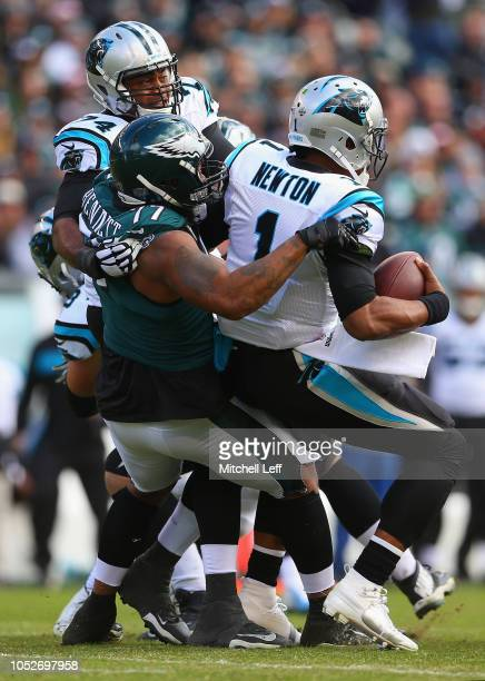 Defensive end Michael Bennett of the Philadelphia Eagles sacks quarterback Cam Newton of the Carolina Panthers during the first quarter at Lincoln...