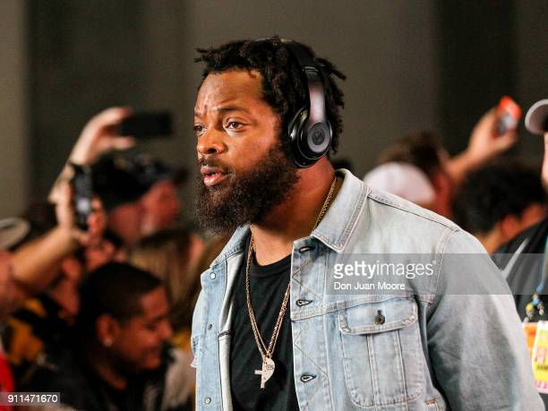 Defensive End Michael Bennett of the Seattle Seahawks of the NFC Team as he arrives to the NFL Pro Bowl Game at Camping World Stadium on January 28...