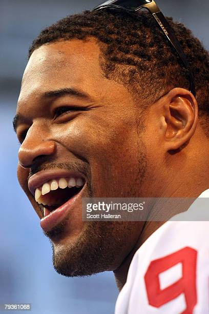 Defensive end Michael Strahan of the New York Giants speaks during Giants media day for Super Bowl XLII at University of Phoenix Stadium on January...