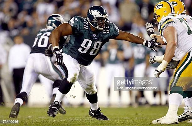 Defensive End Mike Patterson of the Philadelphia Eagles rushes the passer against the Green Bay Packers on October 2, 2006 at Lincoln Financial Field...