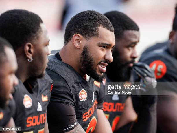 Defensive End Montez Sweat from Mississippi State of the South Team on the bench during the 2019 Reese's Senior Bowl at LaddPeebles Stadium on...