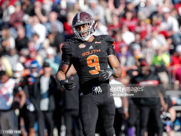 Defensive End Montez Sweat of Mississippi State of the South Team in action during the 2019 Resse's Senior Bowl at LaddPeebles Stadium on January 26...