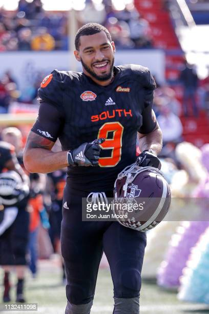 Defensive End Montez Sweat of Mississippi State of the South Team during the team's intros before the start of the 2019 Resse's Senior Bowl at...