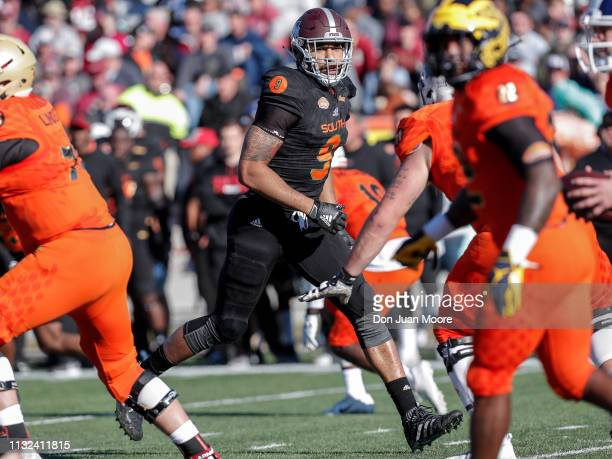 Defensive End Montez Sweat of Mississippi State of the South Team during the 2019 Resse's Senior Bowl at LaddPeebles Stadium on January 26 2019 in...