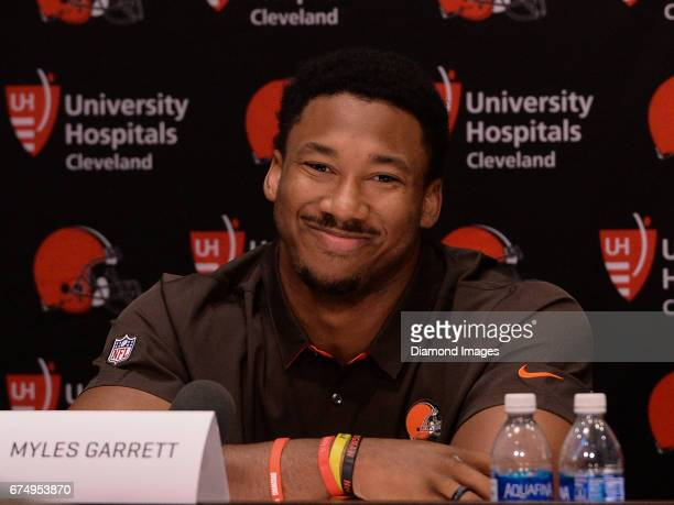 Defensive end Myles Garrett of the Cleveland Browns answers questions from the media during a press conference after the first round of the 2017 NFL...