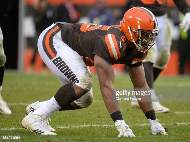 Defensive end Myles Garrett of the Cleveland Browns awaits the snap from his position in the third quarter of a game on November 19 2017 against the...