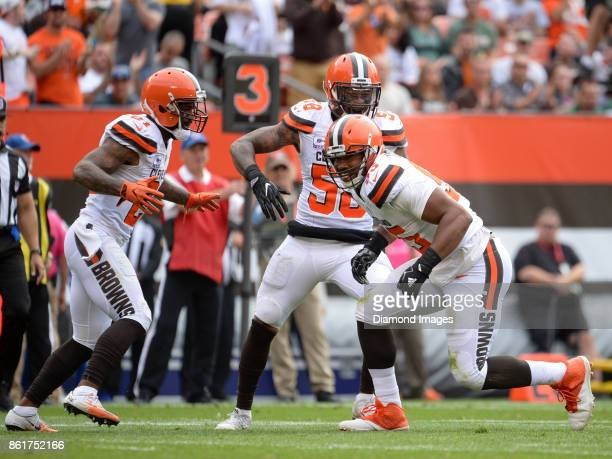 Defensive end Myles Garrett of the Cleveland Browns celebrates a sack in the second quarter of a game on October 8, 2017 against the New York Jets at...