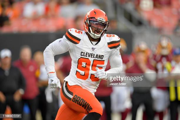 Defensive end Myles Garrett of the Cleveland Browns during the first half of a preseason game against the Washington Redskins at FirstEnergy Stadium...
