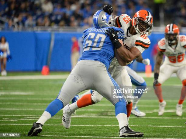 Defensive end Myles Garrett of the Cleveland Browns engages left guard Graham Glasgow of the Detroit Lions in the third quarter of a game on November...