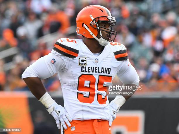 Defensive end Myles Garrett of the Cleveland Browns on the field in the third quarter of