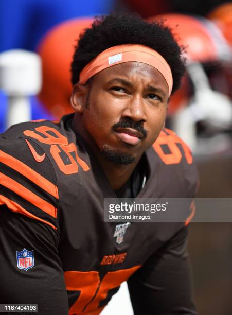 Defensive end Myles Garrett of the Cleveland Browns on the sideline prior to a game against the Tennessee Titans on September 8 2019 at FirstEnergy...