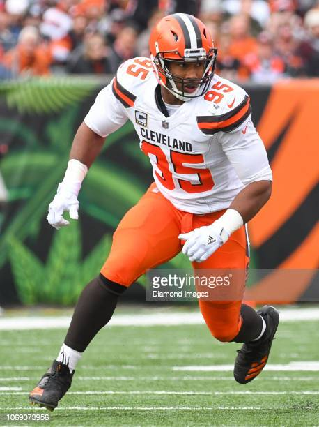 Defensive end Myles Garrett of the Cleveland Browns rushes the line of scrimmage in the first
