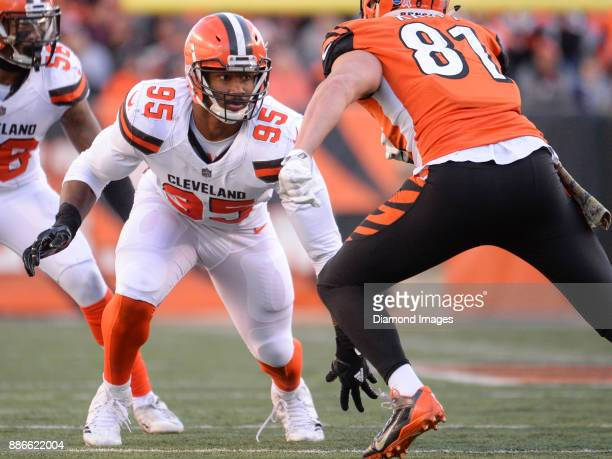 Defensive end Myles Garrett of the Cleveland Browns rushes the line of scrimmage in the third