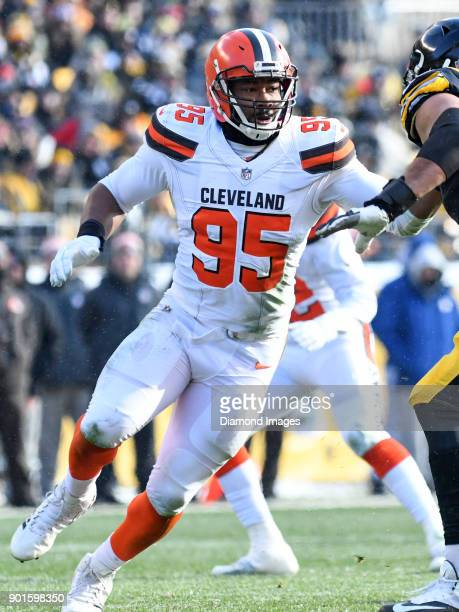 Defensive end Myles Garrett of the Cleveland Browns rushes the line of scrimmage in the first quarter of a game on December 31 2017 against the...