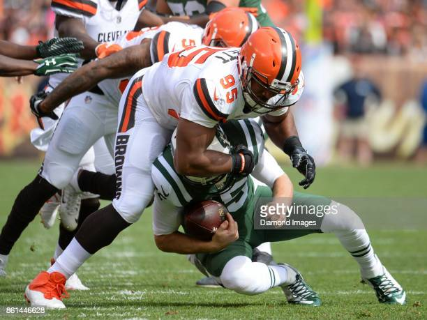 Defensive end Myles Garrett of the Cleveland Browns sacks quarterback Josh McCown of the New York Jets in the first quarter of a game on October 8...