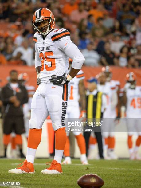 Defensive end Myles Garrett of the Cleveland Browns stands on the field in the first quarter of a preseason game on April 27 2017 against the New...
