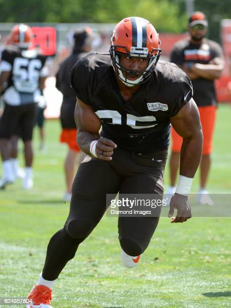 Defensive end Myles Garrett of the Cleveland Browns takes part in a drill during a training camp practice on July 29 2017 at the Cleveland Browns...
