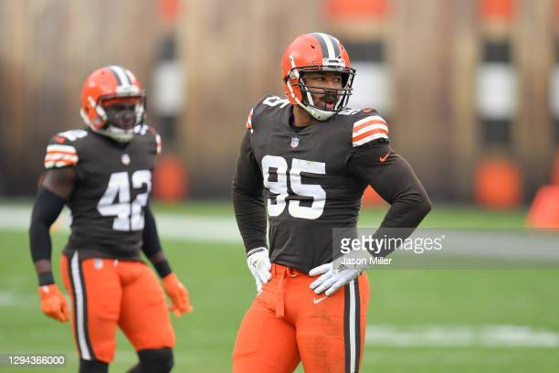 Defensive end Myles Garrett of the Cleveland Browns waits for the next play during the first half against the Pittsburgh Steelers at FirstEnergy...