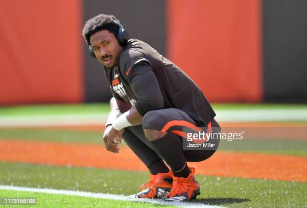 Defensive end Myles Garrett of the Cleveland Browns waits on the field during warm ups before playing in the game against the Tennessee Titans at...