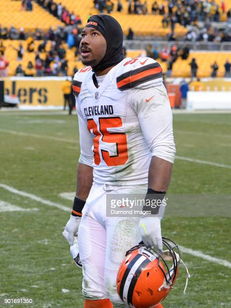 Defensive end Myles Garrett of the Cleveland Browns walks off the field after a game on December 31 2017 against the Pittsburgh Steelers at Heinz...