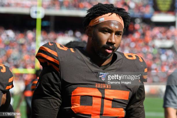 Defensive end Myles Garrett of the Cleveland Browns walks off the field at halftime of a game against the Seattle Seahawks on October 13 2019 at...