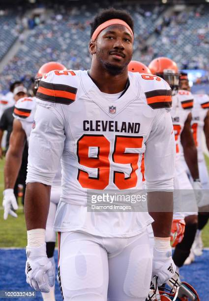 Defensive end Myles Garrett of the Cleveland Browns walks off the field prior to a preseason game against the New York Giants at MetLife Stadium in...