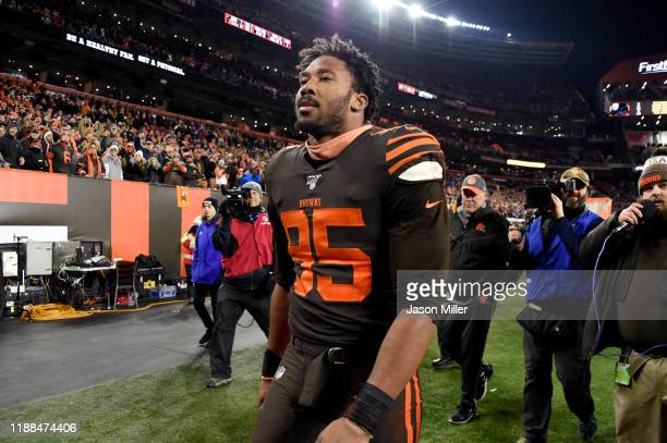 Defensive end Myles Garrett of the Cleveland Browns walks off the field after the game against the Pittsburgh Steelers at FirstEnergy Stadium on...
