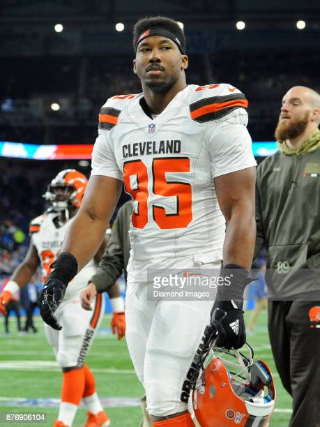 Defensive end Myles Garrett of the Cleveland Browns walks off the field prior to a game