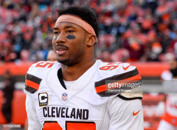 Defensive end Myles Garrett of the Cleveland Browns walks onto the field at halftime of a