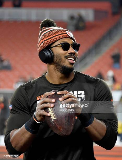 Defensive end Myles Garrett of the Cleveland Browns warms up before the game against the Pittsburgh Steelers at FirstEnergy Stadium on November 14...