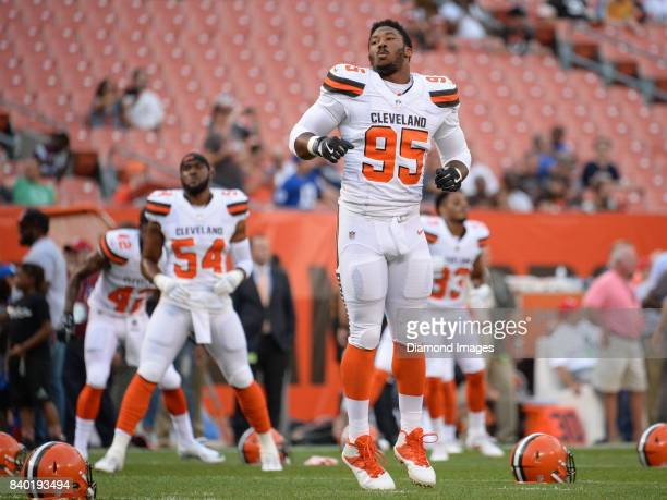 Defensive end Myles Garrett of the Cleveland Browns warms up on the field prior to a preseason game on April 27 2017 against the New York Giants at...