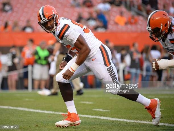 Defensive end Myles Garrett of the Cleveland Browns warms up prior to a preseason game on August 10 2017 against the New Orleans Saints at...