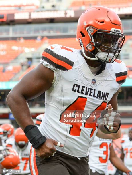Defensive end Nate Orchard of the Cleveland Browns runs off the field prior to a preseason game against the Buffalo Bills at FirstEnergy Stadium in...
