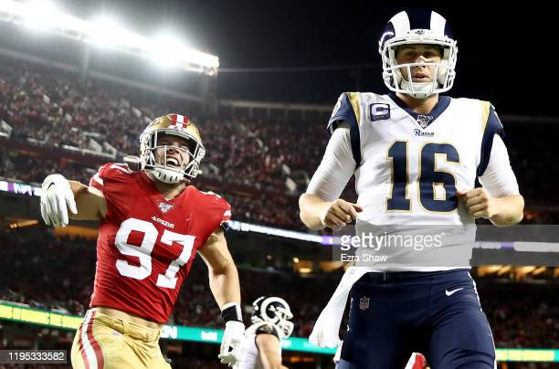 Defensive end Nick Bosa of the San Francisco 49ers celebrates an incomplete pass in the end zone after pressuring quarterback Jared Goff of the Los...
