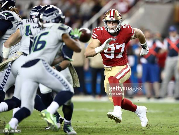 Defensive end Nick Bosa of the San Francisco 49ers rushes the offense of the Seattle Seahawks in the game at Levi's Stadium on November 11, 2019 in...