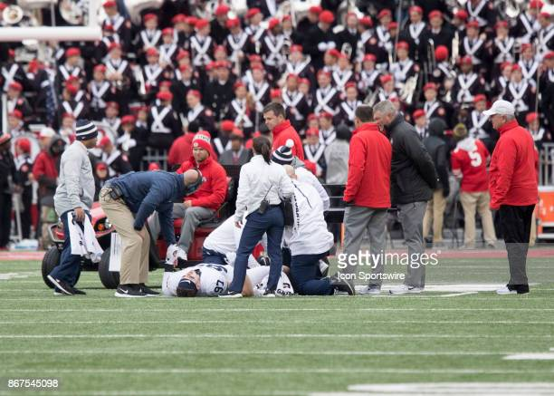 Defensive end Ryan Buchholz of the Penn State Nittany Lions being carted off the field during the game between the Ohio State Buckeyes and the Penn...