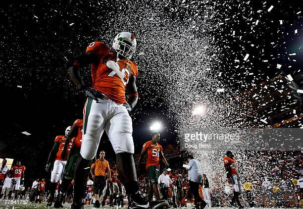 Defensive end Steven Wesley of the Miami Hurricanes walks off the field after losing to the Virginia Cavaliers at the Orange Bowl November 10, 2007...