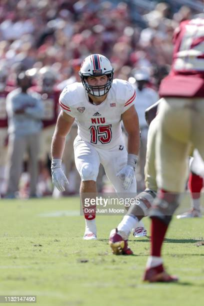 Defensive End Sutton Smith of the Northern Illinois Huskies in action during the game against the Florida State Seminoles at Doak Campbell Stadium on...