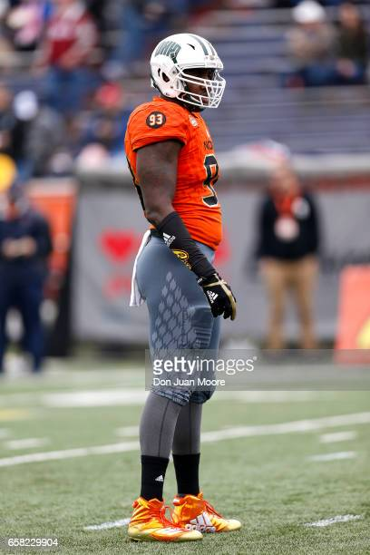 Defensive End Tarell Basham from Ohio of the North Team during the 2017 Resse's Senior Bowl at LaddPeebles Stadium on January 28 2017 in Mobile...