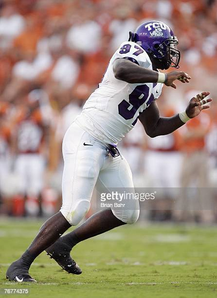 Defensive End Tommy Blake of the TCU Horned Frogs plays his position during their game against the Texas Longhorns on September 8 2007 at Darren K...