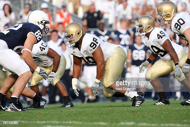 Defensive end Trevor Laws of the University of Notre Dame Fighting Irish lines up against the Penn State Nittany Lions at Beaver Stadium on September...