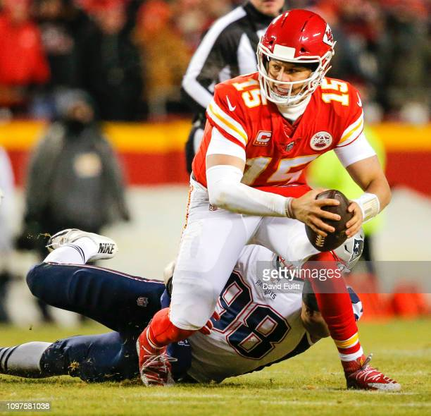 Defensive end Trey Flowers of the New England Patriots sacks quarterback Patrick Mahomes of the Kansas City Chiefs during the AFC Championship Game...