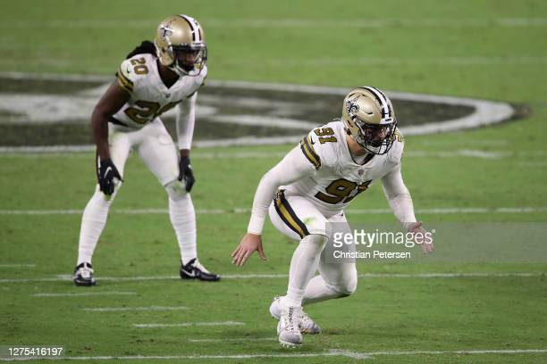 Defensive end Trey Hendrickson and cornerback Janoris Jenkins of the New Orleans Saints in action during the NFL game against the Las Vegas Raiders...